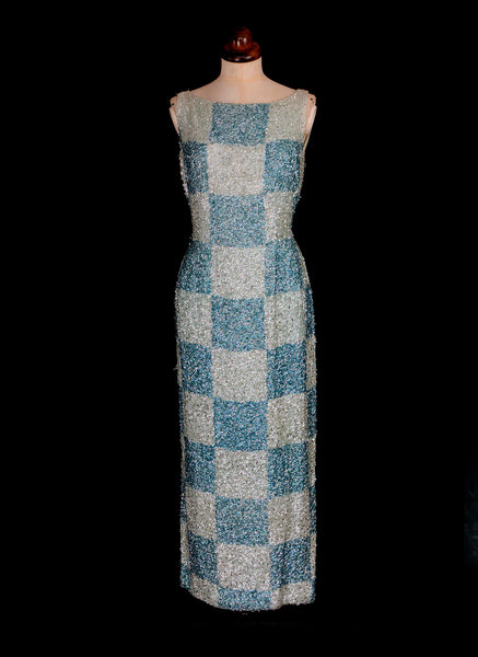 Vintage 1950s Blue Sequin Wiggle Dress