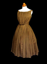 Vintage 1950s Silk Chiffon Cocoa Cocktail Dress