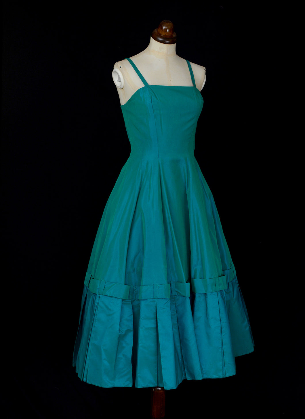 Vintage 1950s Turquiose Green Taffeta Cocktail Dress