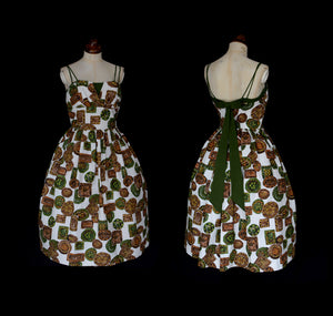 Vintage 1950s Mid Century Green Barkcloth Dress