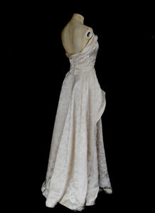 Vintage 1950s Champagne Damask Wedding Dress