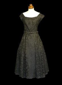 Vintage 1950s Black Lace Cocktail Dress