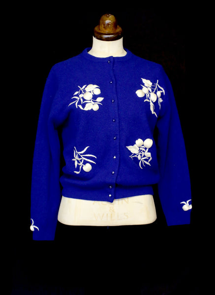 Vintage 1950s Blue Embroidered Cardigan