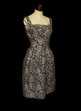 Vintage 1950s Silver Brocade Frank Usher Dress