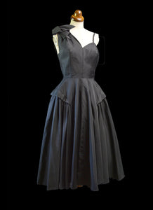 Vintage 1950s Black Gabardine New Look Dress