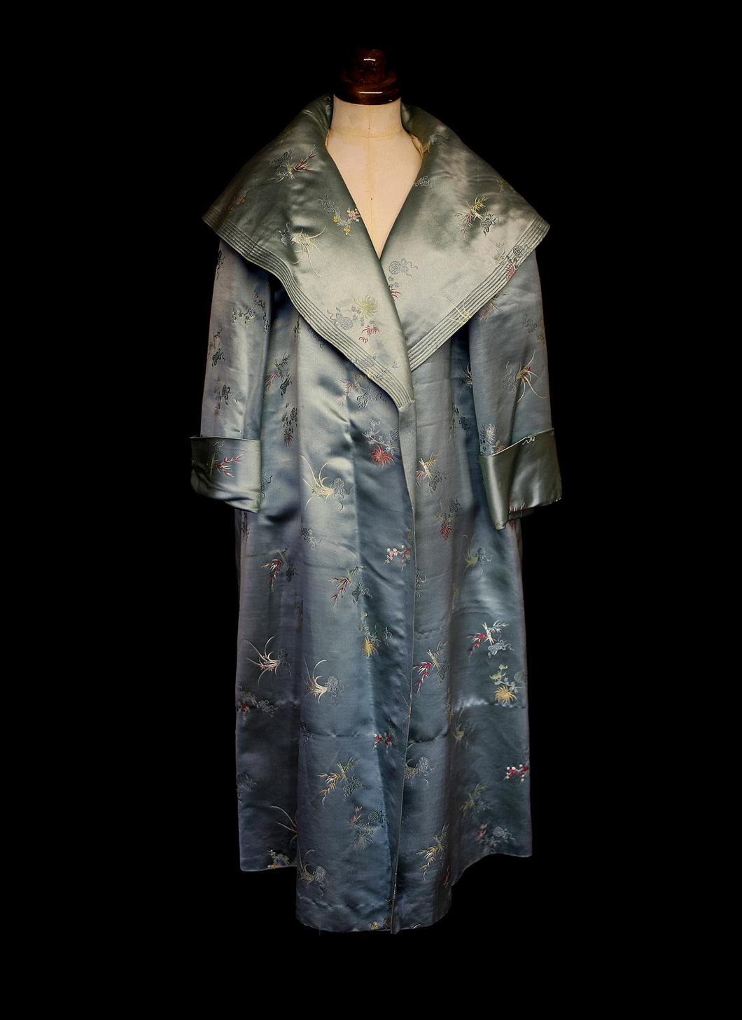 Vintage 1950s Green Satin Opera Coat
