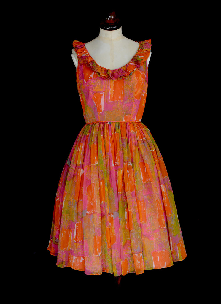 Vintage 1950s Orange Mid Century Dress