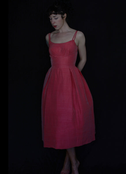Vintage 1950s Pink Silk Cocktail Dress