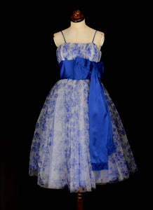 Vintage 1950s Blue Tulle Prom Dress