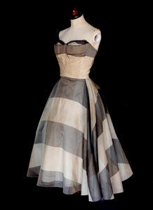 Vintage 1950s Grey Silk Organdie Stripe Dress