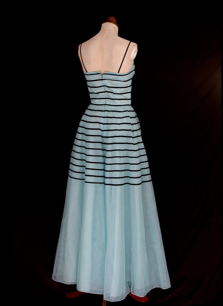Vintage 1950s Blue Tulle Stripe Prom Dress