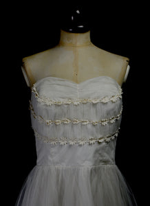 RESERVED Vintage 1950s Tulle Prom / Wedding Dress