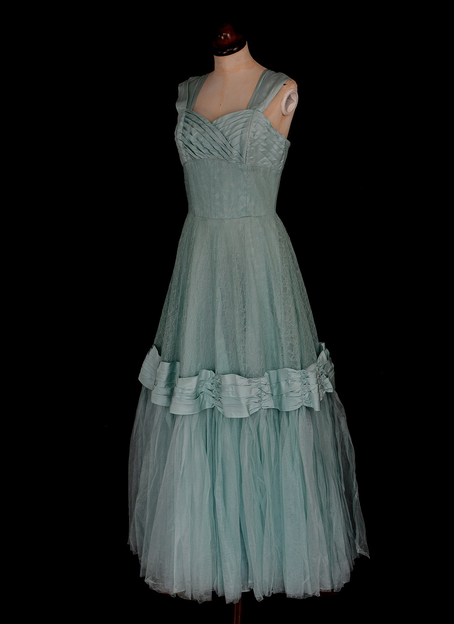 Vintage 1950s Blue Lace Formal Gown