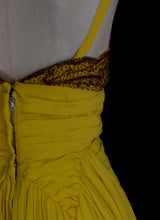 Vintage 1950s Beaded Yellow Chiffon Gown
