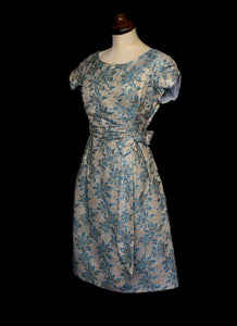 Vintage 1960s Blue Gold Brocade Cocktail Dress