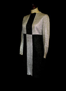 Vintage 1960s Black Silver Mod Dress