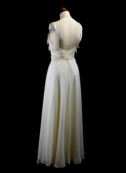 Vintage 1970s Ivory Chiffon Maxi Dress