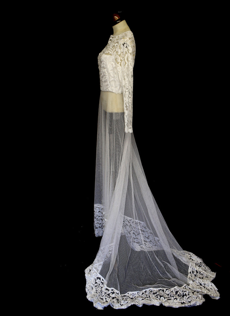 Vintage 1970s Sheer Lace Tulle Wedding Dress