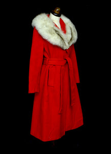 Vintage 1970s Red Wool Coat