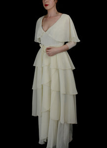 Vintage 1970s Ivory Chiffon Maxi Wedding Dress