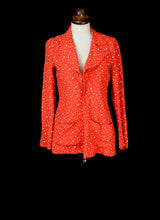 Vintage 1970s Georgina Linhart Red Star Print Moss Crepe Top