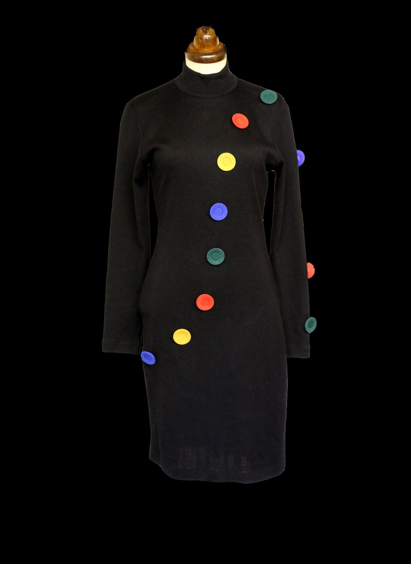 Vintage 1980s Black Button Pop Art Dress