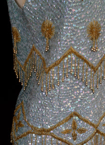 Vintage 1950s Blue and Gold Sequin Top