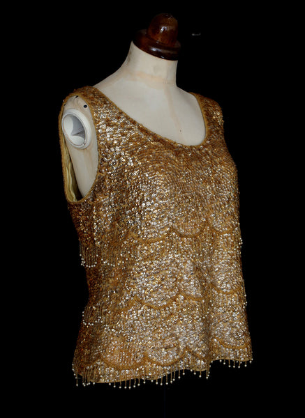 Vintage 1950s Gold Sequin Top