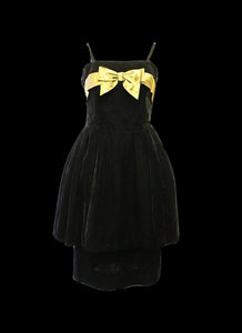 Vintage 1950s Black Velvet Cocktail Dress