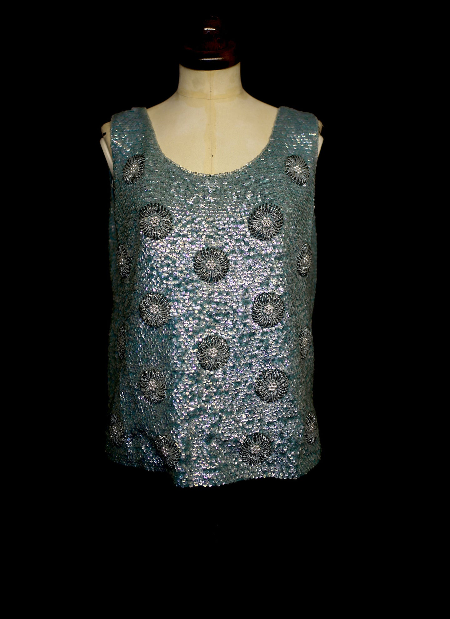 Vintage 1960s Blue Floral Sequin Top