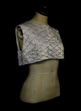 Vintage 1960s Ivory Beaded Satin Crop Top
