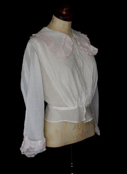 Edwardian White Cotton Blouse and Skirt