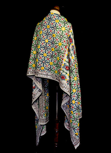 Vintage Indian Embroidered Wool Wrap