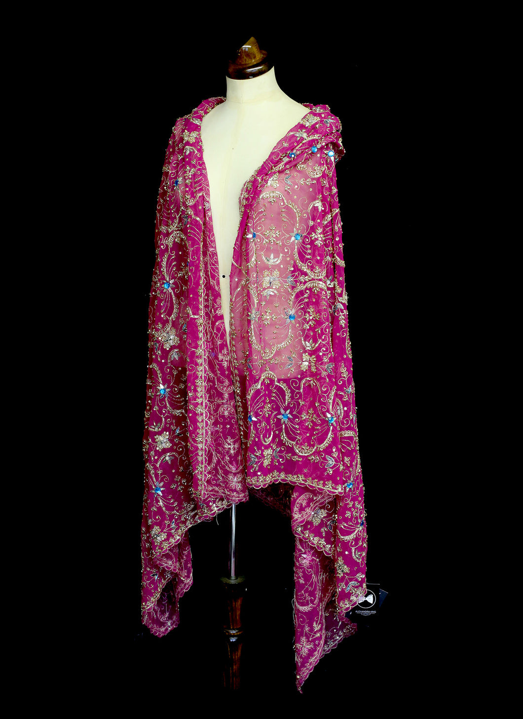 Vintage Magenta Pink Silk Embroidered Wrap