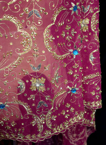 Vintage 1980s Pink Gold Silk Embroidered Long Wrap