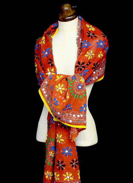 Vintage Orange Embroidered Silk Wrap
