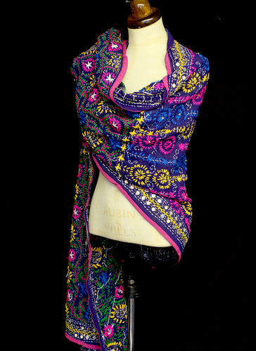 Vintage Embroidered Silk Wool Wrap
