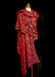 Vintage 1970s Indian Red Embroidered Long Wrap