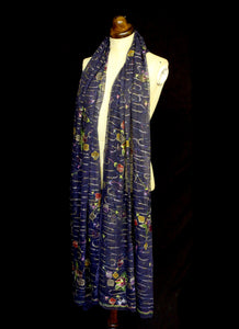 Vintage Navy Blue Silk Chiffon Embroidered Wrap