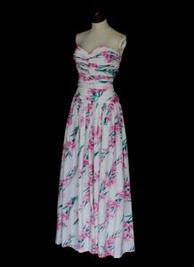 RESERVED Vintage 1950s Pink Floral Horrockses Cotton Gown