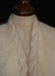 Vintage Ivory Mohair Knit Cardigan
