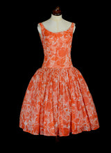 Vintage 1950s Tangerine Orange Dress