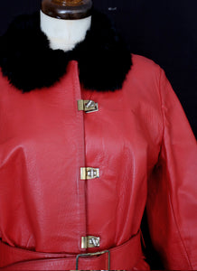 Vintage 1960s Red Leather Fur Coat