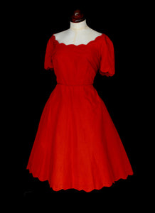 Vintage 1960s Red Grosgrain Scallop Dress
