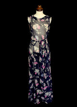 Vintage 1930s Floral Chiffon Gown