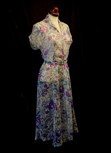 Vintage 1940s Nylon Floral Tea Dress
