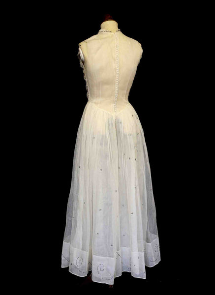 Vintage 1930s Silk Tulle Beaded Dress