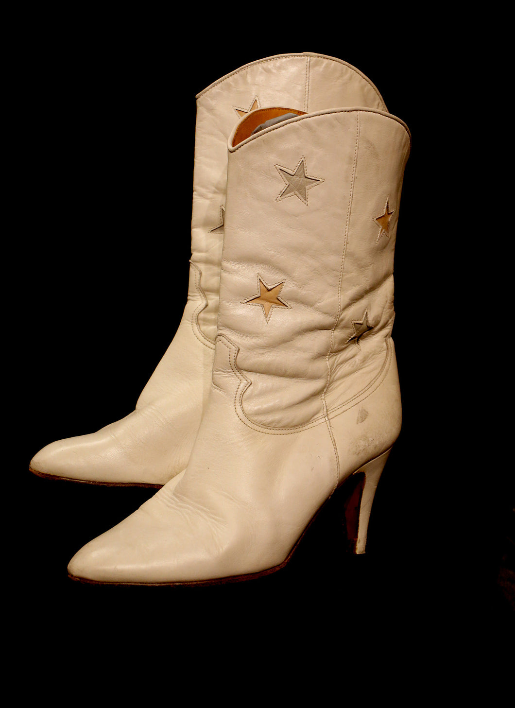 Vintage 1980s White Star Cowboy Boots