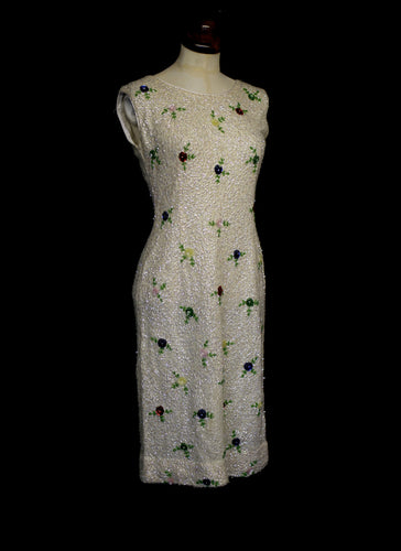 Vintage 1960s White Floral Sequin Wiggle Dress