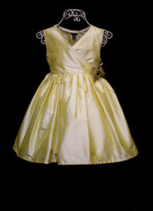 Buttercup Yellow Silk Girls Flower Girl Dress